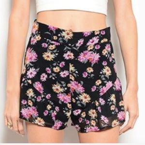 Beautiful black and pink floral high waist shorts!